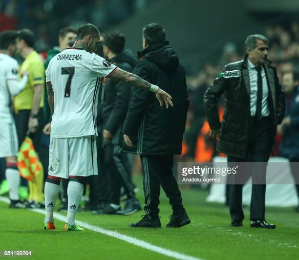 Ricardo Quaresma reacts after the referee showed a red card to Vincent Aboubakar of Besiktas during the UEFA Europa League Round 16 secondleg match...