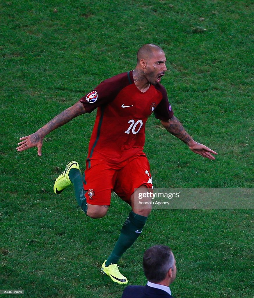 Ricardo Querasma of Portugal celebrates after winning the Euro 2016 quarter-final football match between Poland and Portugal at the Stade Velodrome in Marseille on June 30, 2016.