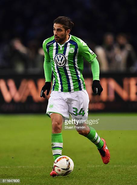 Ricardo Rodríguez of Wolfsburg in action during the Bundesliga match between Hertha BSC and VfL Wolfsburg at Olympiastadion on February 20 2016 in...