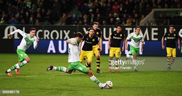 Ricardo Rodríguez of Wolfsburg scores the penalty goal during the Bundesliga match between VfL Wolfsburg and Borussia Dortmund at Volkswagen Arena on...