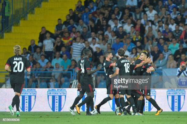 Ricardo Rodriguez celebrates after scoring during CSU Craiova v AC Milan UEFA Europa League 2017/2018 Third Qualifying Round in Drobeta Turnu Severin...