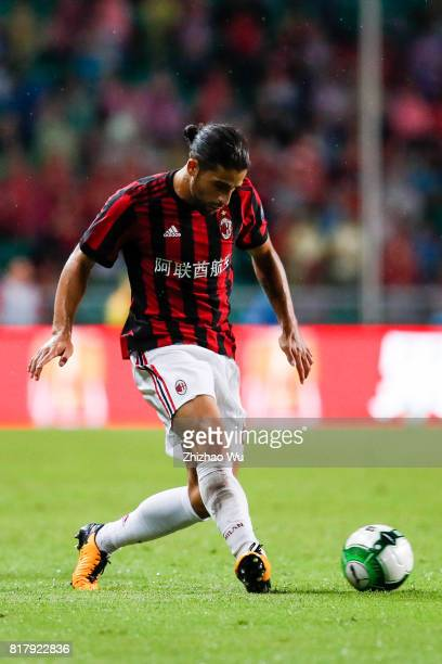 Ricardo Rodriguez of AC Milan controls the ball at University Town Sports Centre Stadium during the 2017 International Champions Cup match on July 18...