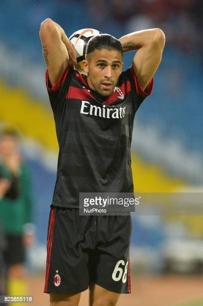 Ricardo Rodriguez of AC Milan in action during CSU Craiova v AC Milan UEFA Europa League 2017/2018 Third Qualifying Round in Drobeta Turnu Severin...