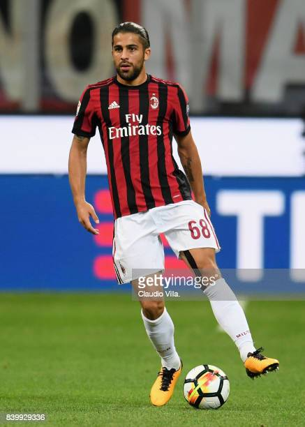 Ricardo Rodriguez of AC Milan in action during the Serie A match between AC Milan and Cagliari Calcio at Stadio Giuseppe Meazza on August 27 2017 in...