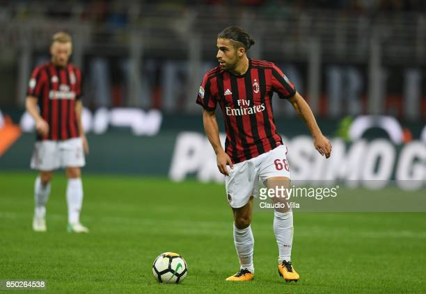 Ricardo Rodriguez of AC Milan in action during the Serie A match between AC Milan and Spal at Stadio Giuseppe Meazza on September 20 2017 in Milan...