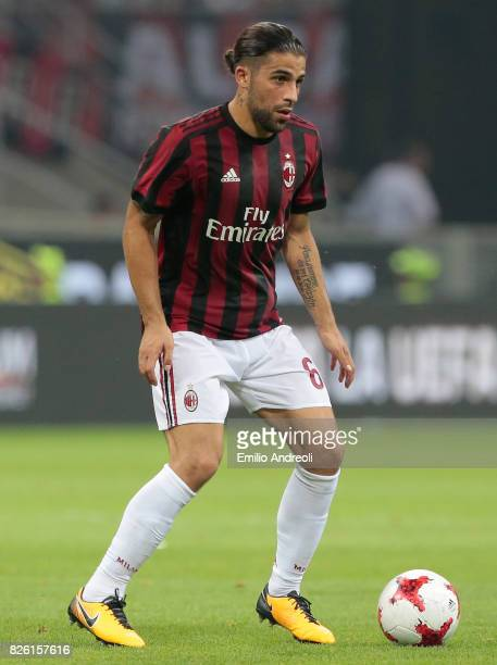 Ricardo Rodriguez of AC Milan in action during the UEFA Europa League Third Qualifying Round Second Leg match between AC Milan and CSU Craiova at...