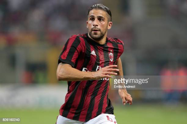 Ricardo Rodriguez of AC Milan looks on during the UEFA Europa League Third Qualifying Round Second Leg match between AC Milan and CSU Craiova at...