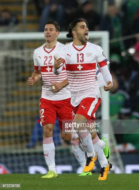 Ricardo Rodriguez of Switzerland celebrtates after scorin his sides first goal during the FIFA 2018 World Cup Qualifier PlayOff First Leg between...