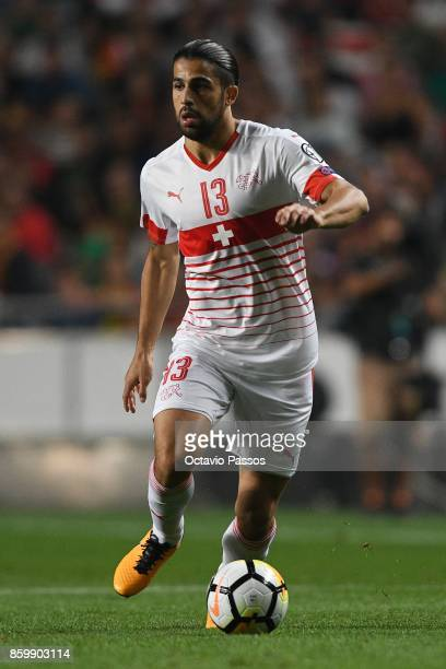 Ricardo Rodriguez of Switzerland in action during the FIFA 2018 World Cup Qualifier between Portugal and Switzerland at the Luz Stadium on October 10...