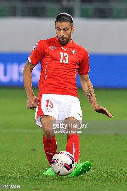 Ricardo Rodriguez of Switzerland in action during the UEFA EURO 2016 qualifier between Switzerland and San Marino at AFG Arena on October 9 2015 in...
