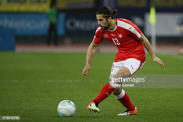 Ricardo Rodriguez of Switzerland plays the ball during the international friendly match between Switzerland and BosniaHerzegovina at Stadium...