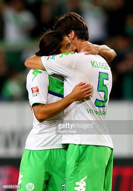 Ricardo Rodriguez of VfL Wolfsburg celebrates with Timm Klose of VfL Wolfsburg after scoring his teams second goal during the Bundesliga match...