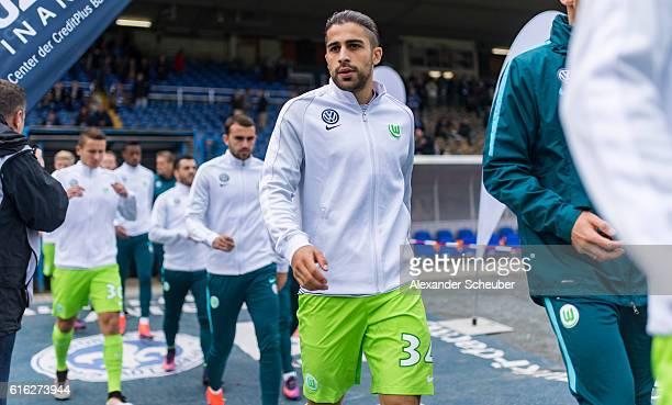 Ricardo Rodriguez of VfL Wolfsburg is seen prior the Bundesliga match between SV Darmstadt 98 and VfL Wolfsburg at Stadion am Boellenfalltor on...