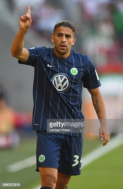 Ricardo Rodriguez of VfL Wolfsburg reacts during the Bundesliga match between FC Augsburg and VfL Wolfsburg at WWK Arena on August 27 2016 in...