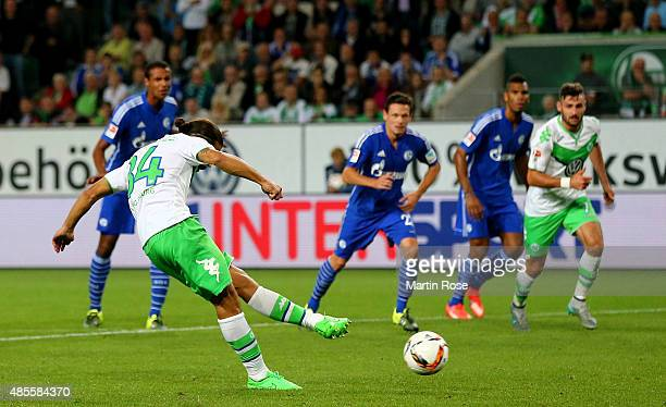 Ricardo Rodriguez of VfL Wolfsburg scores his teams second goal during the Bundesliga match between VfL Wolfsburg and FC Schalke 04 at Volkswagen...