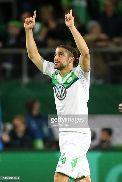 Ricardo Rodriguez of Wolfsburg celebrates his goal during the UEFA Champions League quarter final first leg match between VfL Wolfsburg and Real...