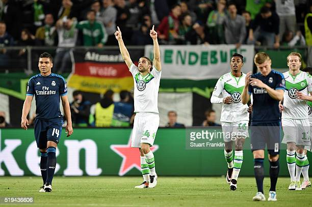 Ricardo Rodriguez of Wolfsburg celebrates scoring his team's first goal during the UEFA Champions League Quarter Final First Leg match between VfL...