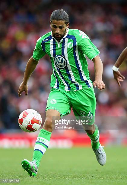 Ricardo Rodriguez of Wolfsburg controls the ball during the Emirates Cup match between Arsenal and VfL Wolfsburg at the Emirates Stadium on July 26...