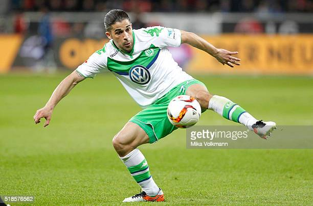 Ricardo Rodriguez of Wolfsburg controls the ball during the Bundesliga match between Bayer Leverkusen and VFL Wolfsburg at BayArena on April 1 2016...