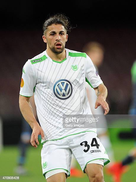 Ricardo Rodriguez of Wolfsburg in action during the UEFA Europa League quarterfinal second leg match between SSC Napoli and VfL Wolfsburg on April 23...
