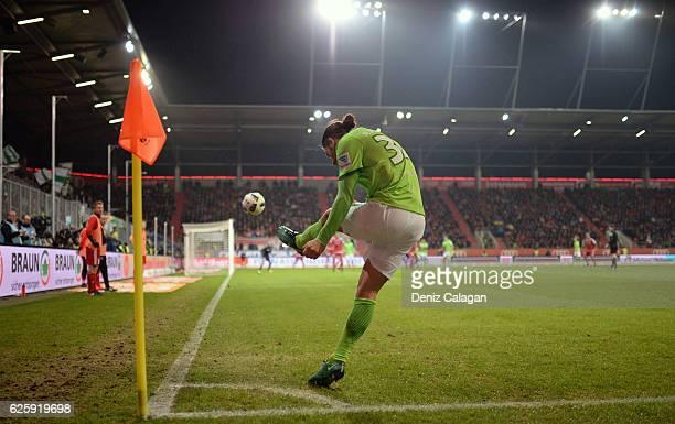 Ricardo Rodriguez of Wolfsburg kicking a corner during the Bundesliga match between FC Ingolstadt 04 and VfL Wolfsburg at Audi Sportpark on November...