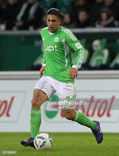 Ricardo Rodriguez of Wolfsburg runs with the ball during the Bundesliga match between VfL Wolfsburg and 1 FC Koeln at Volkswagen Arena on January 21...