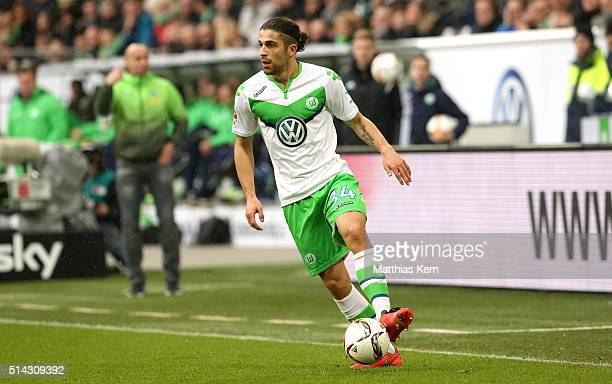 Ricardo Rodriguez of Wolfsburg runs with the ball during the Bundesliga match between VFL Wolfsburg and Borussia Moenchengladbach at Volkswagen Arena...