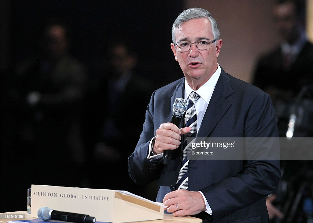 Ricardo Salinas, founder and chairman of Grupo Salinas, speaks during the annual meeting of the Clinton Global Initiative (CGI) in New York, U.S., on Thursday, Sept. 26, 2013. CGI's 2013 theme, mobilizing for impact, explores ways that members and organizations can be more effective in leveraging individuals, partner organizations, and key resources in their commitment efforts. Photographer: Jin Lee/Bloomberg via Getty Images