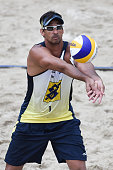 Ricardo Santos in action during the men's final match on Day 3 of the Banco do Brasil Beach Volleyball Open at Icarai beach on September 21 2014 in...