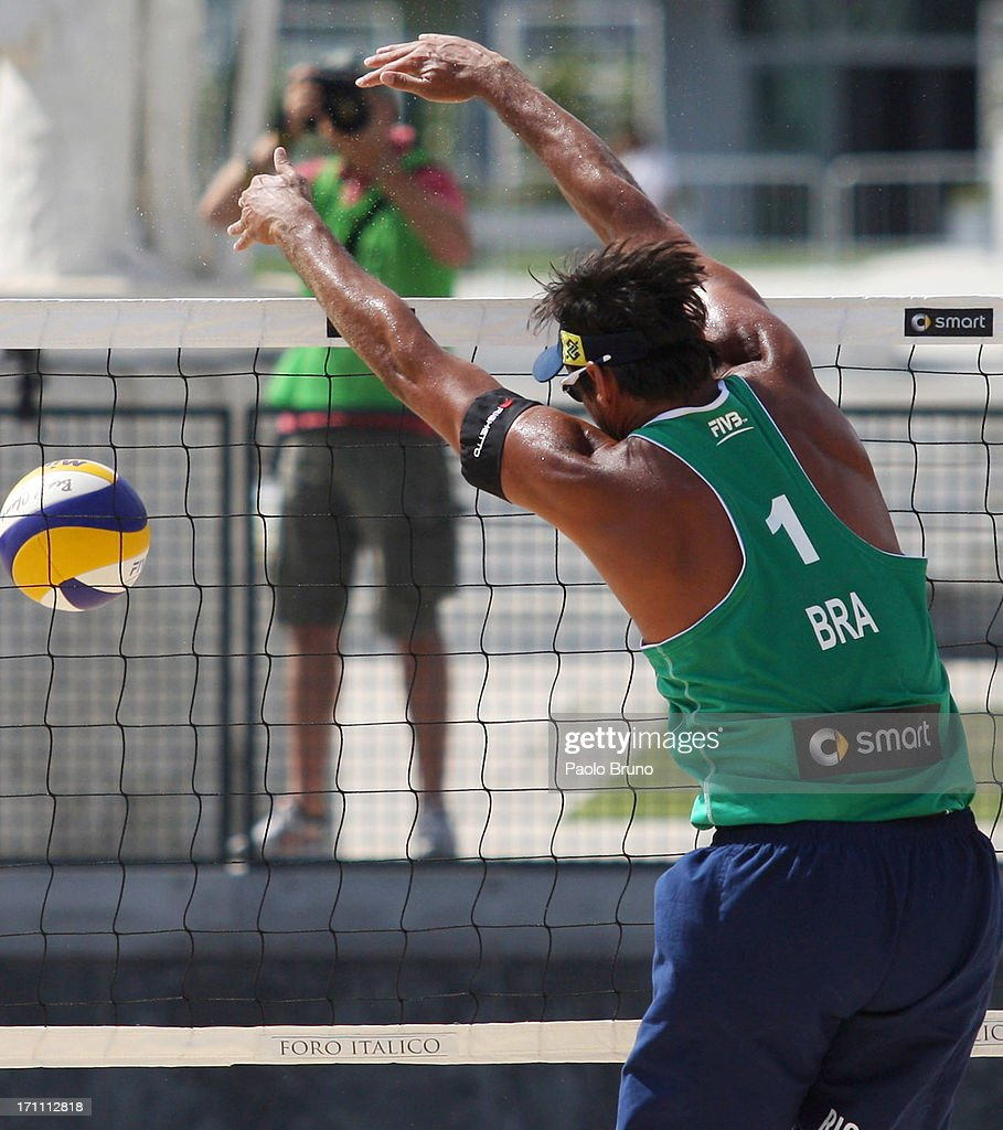 Ricardo Santos of Brazil blocks the ball during the men's main draw of FIVB Smart Grand Slam at Foro Italico on June 22, 2013 in Rome, Italy.