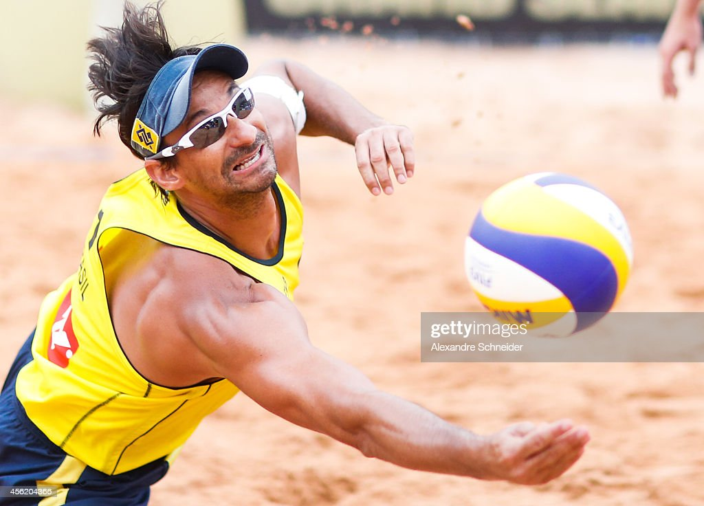 Ricardo Santos of Brazil competes in the main draw match against Poland at Jose Correa Gymnasium during day five of the FIVB Sao Paulo Grand Slam, on September 27, 2014 in Barueri, Brazil.