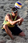 Ricardo Santos of Brazil in action during his match against Nicholas Lucena and Theo Brunner of the United States at the Brazil v USA Beach...