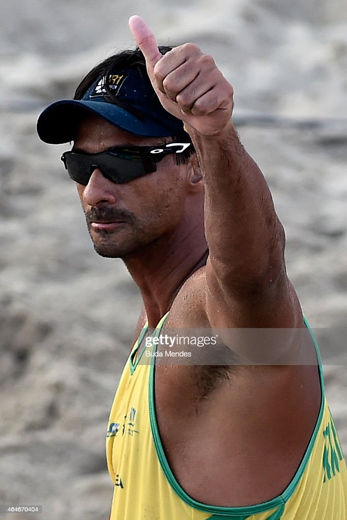 Ricardo Santos of Brazil in action during his match against Nicholas Lucena and Theo Brunner of the United States at the Brazil v USA Beach Volleyball International Challenge at Copacabana beach on February 27, 2015 in Rio de Janeiro, Brazil.