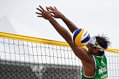 Ricardo Santos of Brazil in action during his match against Ramon Gomes and Lipe Rodrigues of Brazil at the FIVB Beach Volleyball World Tour Rio Open...