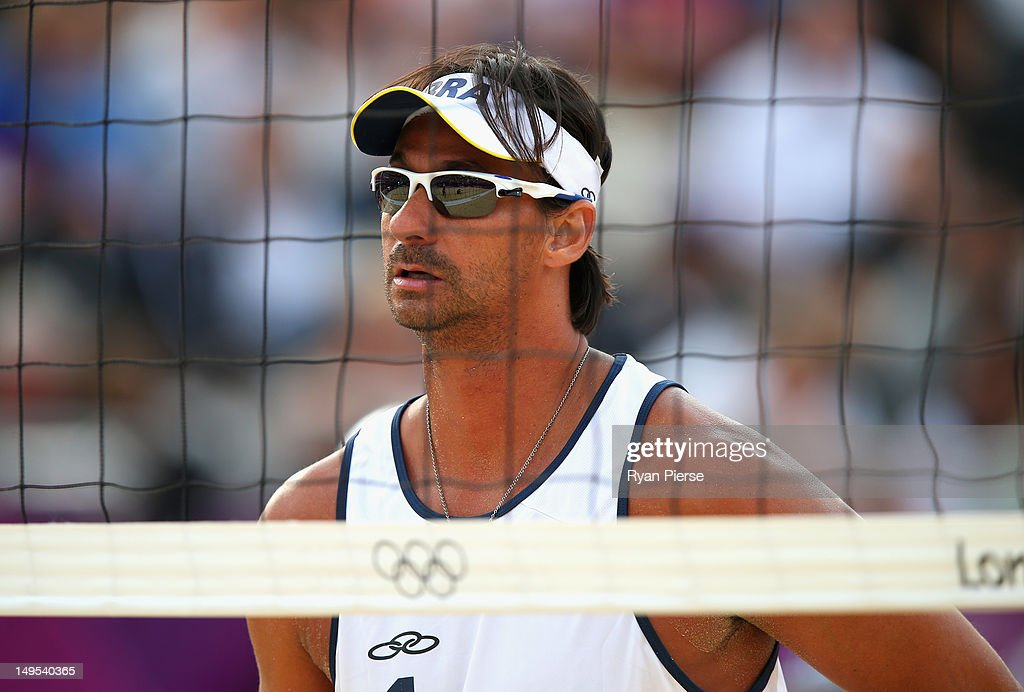 Ricardo Santos of Brazil looks on during the Men's Beach Volleyball Preliminary match between Brazil and Great Britain on Day 3 of the London 2012 Olympic Games at Horse Guards Parade on July 30, 2012 in London, England.