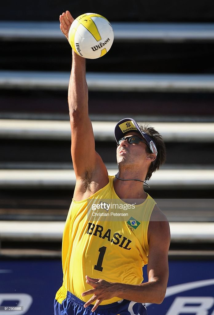 Ricardo Santos of Brazil serves the ball during the AVP Crocs Tour World Challenge against USA at the Westgate City Center on September 25, 2009 in Glendale, Arizona.