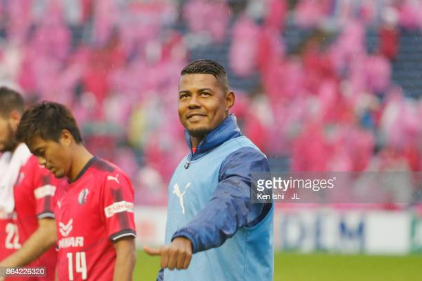 Ricardo Santos of Cerezo Osaka applauds supporters after his side's 20 victory in the JLeague J1 match between Cerezo Osaka and Ventforet Kofu at...
