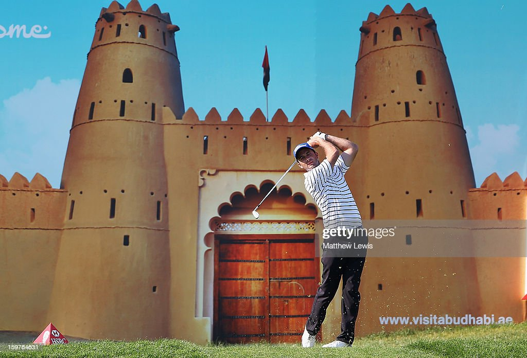Ricardo Santos of Portugal tees off on the 15th hole during day four of the Abu Dhabi HSBC Golf Championship at Abu Dhabi Golf Club on January 20, 2013 in Abu Dhabi, United Arab Emirates.