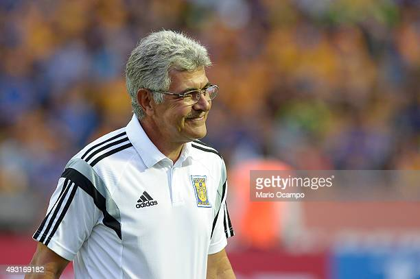 Ricardo 'Tuca' Ferretti coach of Tigres smiles prior the 13th round match between Tigres UANL and Pachuca as part of the Apertura 2015 Liga MX at...