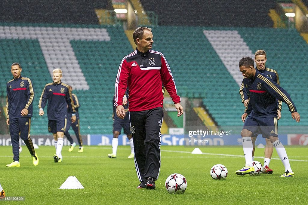 Ricardo van Rhijn of Ajax, Nicolai Boilesen of Ajax, coach Frank de Boer of Ajax, Danny Hoesen of Ajax, Niklas Moisander of Ajax during the Champions League match between Celtic FC and Ajax Amsterdam on October 22, 2013 at the Celtic Park in Glasgow, Scotland
