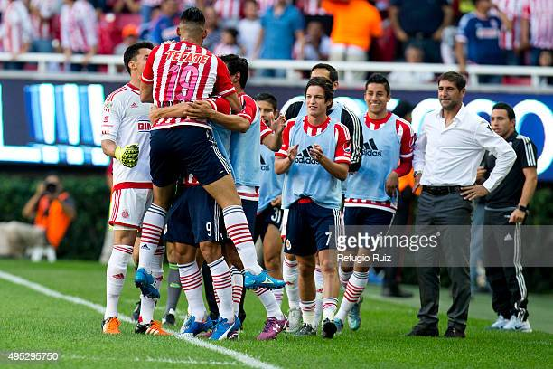 Ricardo Vazquez of Chivas celebrates after scoring the second goal of his team during the 15th round match between Chivas and Pachuca as part of the...