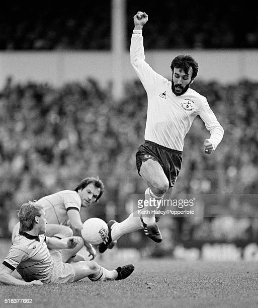 Ricardo Villa of Tottenham Hotspur evades Derek Statham and Martn Jol of West Bromwich during the FA Cup 4th Round match at White Hart Lane in London...