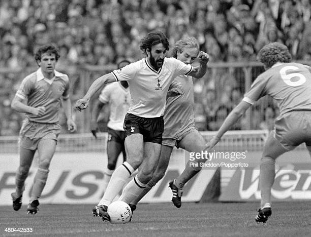 Ricardo Villa of Tottenham Hotspur moves past Gerry Gow of Manchester City during the FA Cup Final at Wembley Stadium in London 9th May 1981 The...