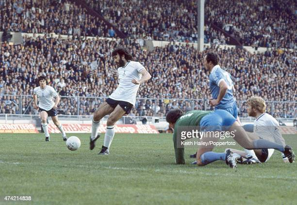 Ricardo Villa scores the first goal for Tottenham Hotspur during the FA Cup Final Replay between Manchester City and Tottenham Hotspur at Wembley...