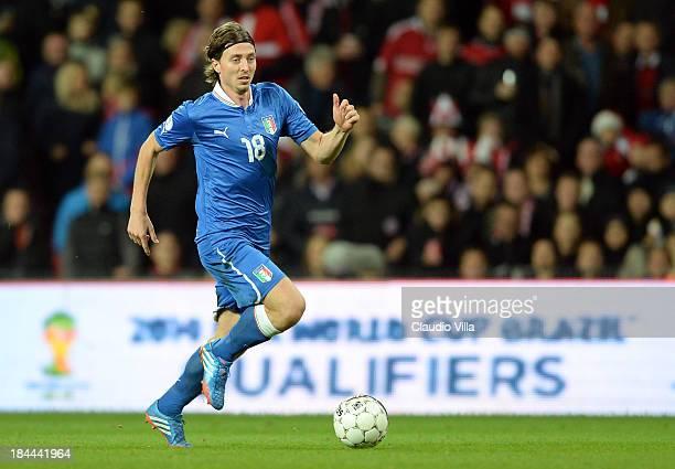 Riccardo Aquilani of Italy in action during the FIFA 2014 world cup qualifier between Denmark and Italy on October 11 2013 in Copenhagen Denmark