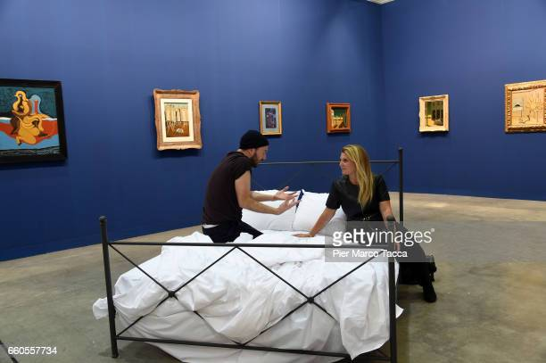 Riccardo Buscarini performs during the Miart Fair 2017 at Fiera Milano City on March 30 2017 in Milan Italy