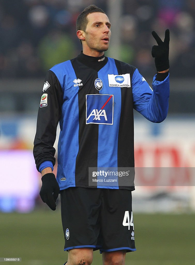 Riccardo Cazzola of Atalanta BC gestures during the Serie A match between Atalanta BC and US Lecce at Stadio Atleti Azzurri d'Italia on February 12, 2012 in Bergamo, Italy.