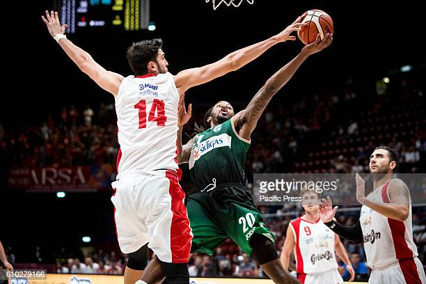 Riccardo Cervi make a block to Levi Randolph during the semifinal of Macron Supercoppa 2016 basketball match between Sidigas Avellino vs Grissin Bon...