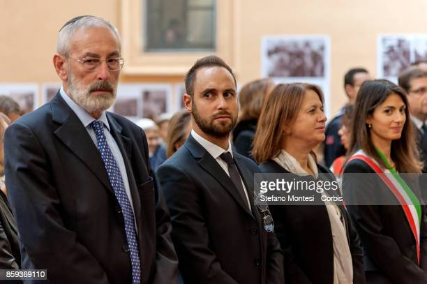 Riccardo Di Segni Chief Rabbi and Gadiel Gaj Tache who was wounded and whose younger brother died in the attack who was wounded in the attack as a...