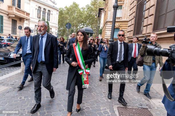 Riccardo Di Segni Chief Rabbi of Rome and Virginia Raggi Mayor of Rome during the commemoration of the 1982 terrorist attack at the Great Synagogue...